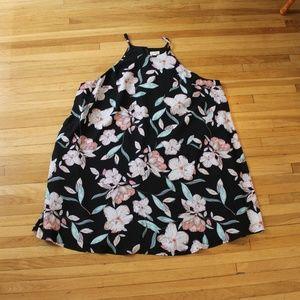 Decree floral tunic dress black pink green